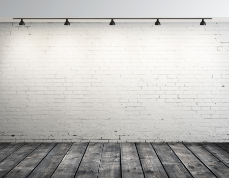 plafond: High resolution brick room with ceiling lamp