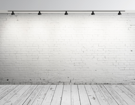 white  background: High resolution brick concrete room with ceiling lamp