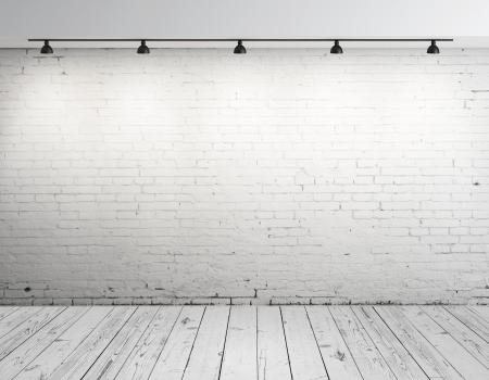 urban colors: Ladrillo de hormigón de alta resolución habitación con la lámpara de techo Foto de archivo