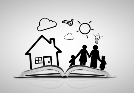 house drawing: open book and drawing family