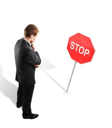 taxman: man looking at a stop symbol