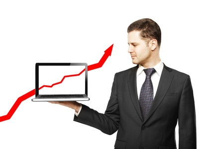 businessman with laptop and red arrow Stock Photo - 16700743