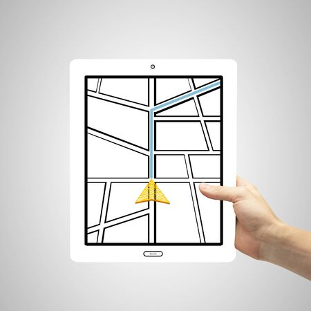 pointing device: hand holding tablet with drawing map