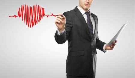 man drawing heart and chart heartbeat Stock Photo - 16700753
