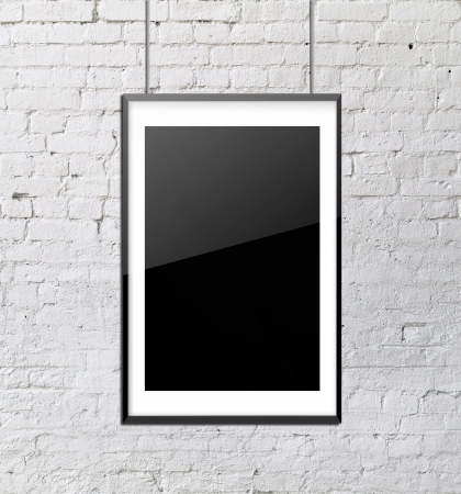 glass frame on brick wall photo