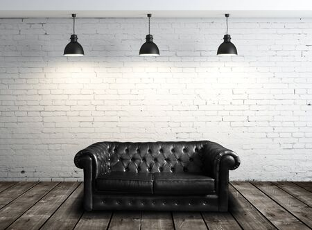 couch: leather sofa in brick room and three lamps