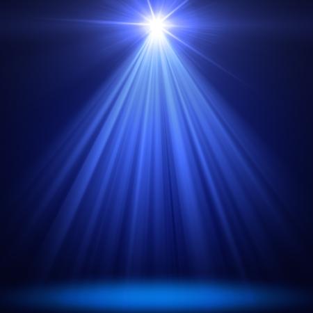 yıldız: mavi arka plan üzerinde Noel sahne spot aydınlatma Stok Fotoğraf