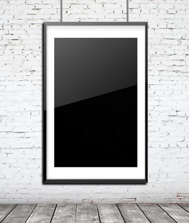 glass frame on brick wall photo