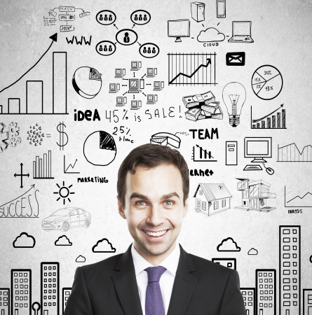 happy businessman: happy businessman and global business concept Stock Photo