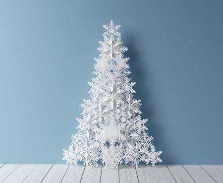 paper curl: papel christmass �rbol y el interior azul Foto de archivo