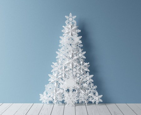 paper christmass tree and blue interior photo