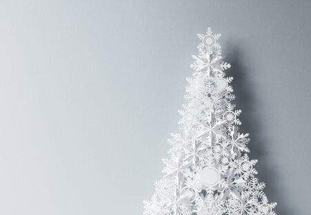 navidad elegante: papel christmass �rbol sobre fondo gris