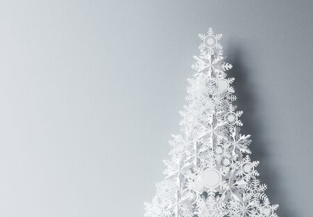 elegant christmas: paper christmass tree on gray background