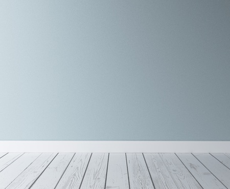 background abstracts: blue concrete wall and wood floor Stock Photo