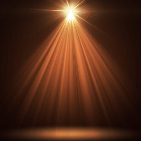 brilliant colors: stage spot lighting over orange christmas background