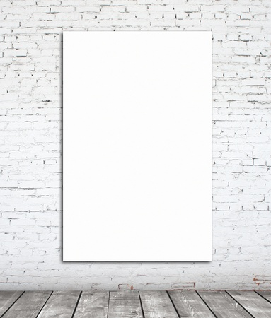 drawing table: wall with white paper frame