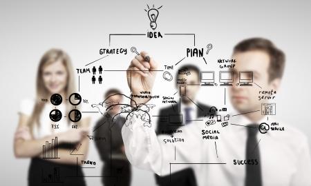 lluvia de ideas: hombre de negocios concepto de dibujo global de negocios Foto de archivo