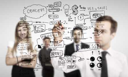 man drawing global business concept photo