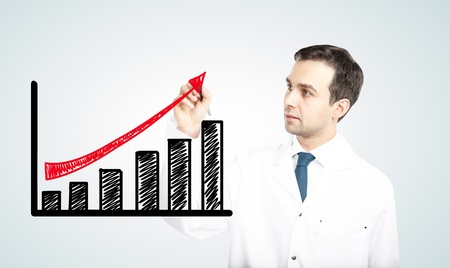 achievement charts: doctor drawing  profit on a white background