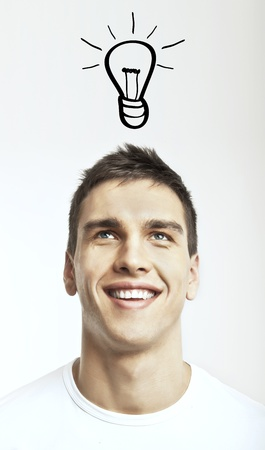 man with drawing lamp, idea concept photo