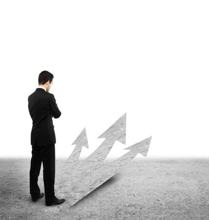 right way: young businessman choosing right way