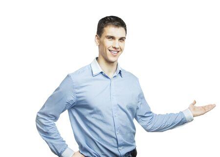 men show his presentation  a white background Stock Photo - 16883289