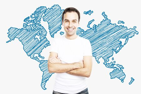 smiling man and world map photo