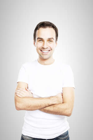 man smiling in wite tshirt Stock Photo - 16883239