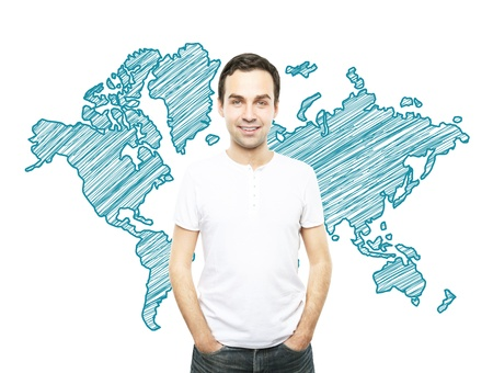smiling man in T-shirt and world map photo