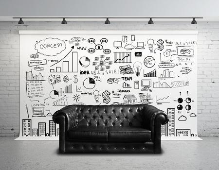 muebles de oficina: rollo de papel con la ciudad concepto grande y sof�