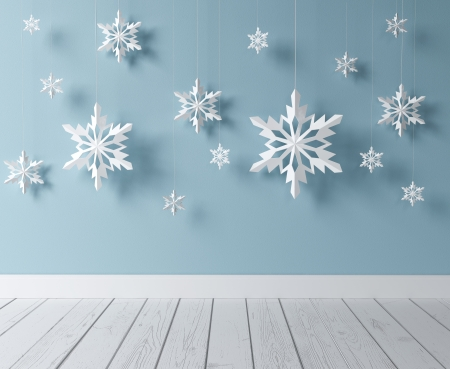 snow flake: white snowflakes in blue room