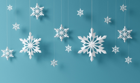 high definition snowflakes on blue background