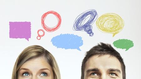 mujeres pensando: hombre de pensamiento y de la mujer