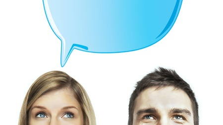 woman and man with speech bubbles Stock Photo - 16883223