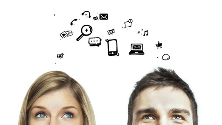 think: man and woman with social media icon