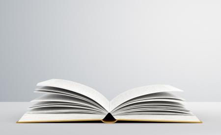 libro abierto: libro abierto sobre fondo blanco