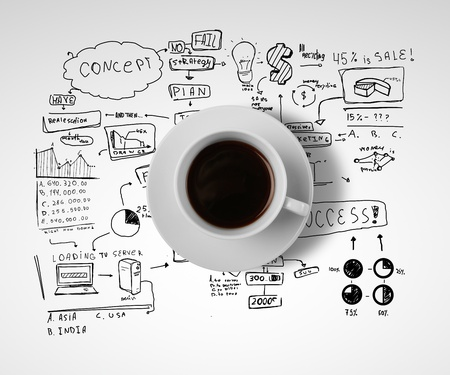 food research: coffee cup and business strategy on a white background