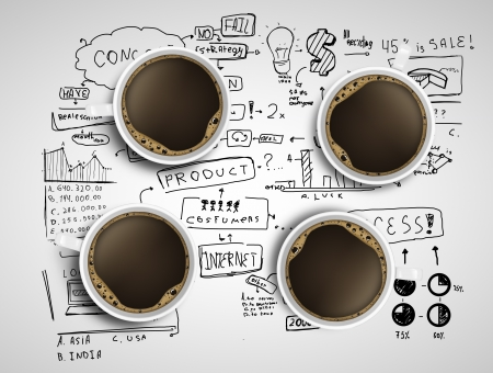 coffee meeting: four coffee cups and business strategy on a white background