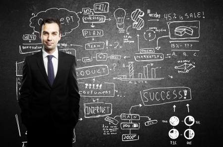 businessman and business plan concept on wall Stock Photo - 16985827