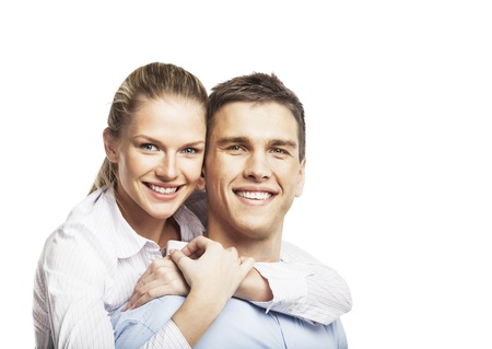 smiling man and woman on white background Stock Photo - 16985836