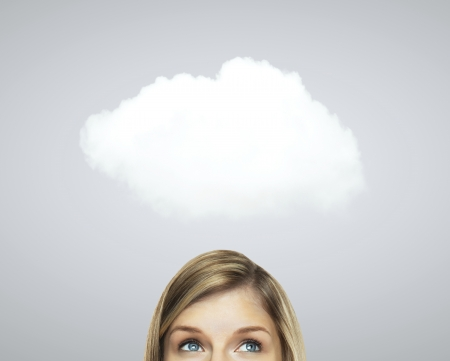 woman thinking: woman thinking and white cloud