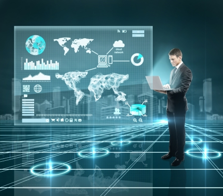 future technology: businesman standing in interface world with notebook