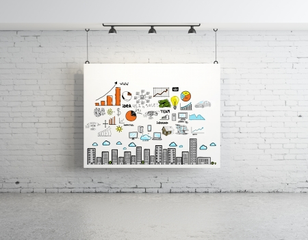 business concept on poster in brick room Stock Photo - 17250447