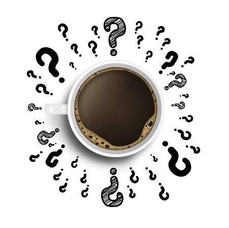 cup of coffee with drawing question  on white background Stock Photo - 17250330