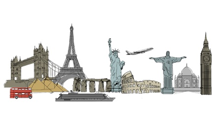 drawing colorized travel on white background photo