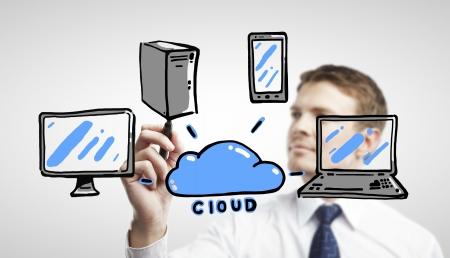 man drawing cloud computing diagram Stock Photo - 17250327