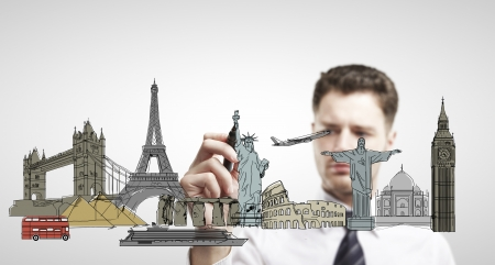 communications tower: businessman drawing architectural buildings  isolated