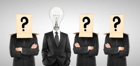 four man with box and lamp on hand Stock Photo - 17250334