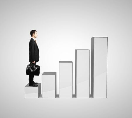 businessman with briefcase and succes graph