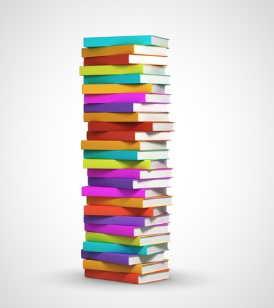 stack of documents: stack of books on white background